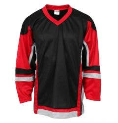 Stadium Youth Hockey Jersey - Black/Red/Gray